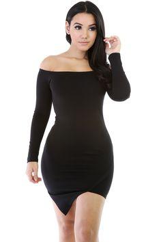 Image of Off Shoulder Black Midi Dress