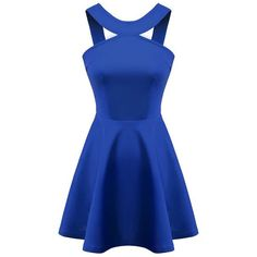 SheIn(sheinside) Blue Strap Backless Flouncing Flare Dress ($18) ❤ liked on Polyvore featuring dresses, sheinside, vestidos, robe, short dresses, blue, short sleeve dress, blue party dress, backless dress and backless mini dress