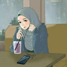 Cartoon Girl Images, Girl Cartoon, Cartoon Art, Cartoon Design, Hijab Drawing, Mikuo, Islamic Cartoon, Cute Muslim Couples, Images Esthétiques