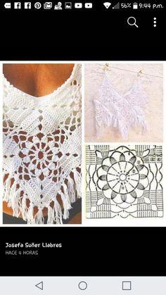 Marcela Leite's media content and analytics Crochet Bolero Pattern, Crochet Tunic, Crochet Crop Top, Crochet Chart, Crochet Motif, Crochet Flowers, Crochet Stitches, Crochet Bikini, Crochet Patterns