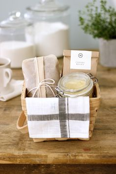 Breakfast Basket with coffee, banana bread, and whipped honey butter. This idea can be scaled down a bit (smaller basket, mini-loaf, sample-size coffee) and still be fabulous! Tutorial.