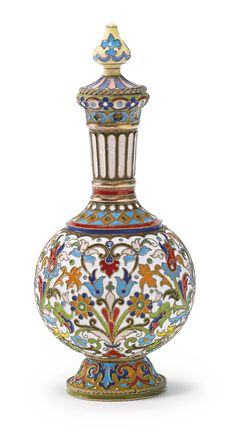 A Russian gilded silver and cloisonné enamel standing scent flask, Fedor Rückert, Moscow, circa 1890 | lot | Sotheby's