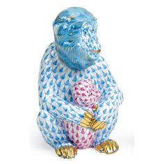 Herend Hand Painted Porcelain Figurine Monkey & Baby Blue Raspberry Fishnet Gold Accents.