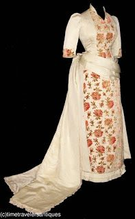 1880's Rose Print Bustle Dress