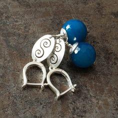 Sterling silver earrings  blue agate simple jewelry by arrabeska, $42.00