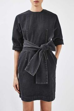 Dress up a simple silhouette in this belted dress by Boutique. Crafted in a rich cotton, we love the exaggerated dome sleeves, and '80s inspired tie belt. Throw it on with loafers for a trending feel. #Topshop