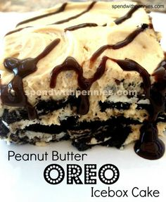 Peanut Butter OREO Icebox Cake. This is a really simple recipe that comes together in 20 minutes and requires no baking!