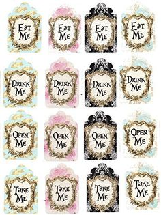 Alice in Wonderland 20 eat me, drink me, take me, open me party tags with silk ribbons. Alice In Wonderland Printables, Alice In Wonderland Decorations, Alice In Wonderland Theme, Wonderland Party, Winter Wonderland, Mad Hatter Party, Mad Hatter Tea, Mad Hatters, Alice In Wonderland Tea Party Birthday