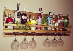 Gin and Tonic Bespoke reclaimed wooden floating gin and tonic spirit rack – Kitcapfix Garden Bar, Home And Garden, Gin Bar, Masonry Wall, Kitchen Units, Kitchen Ideas, Kitchen Fixtures, Gin And Tonic, Bars For Home