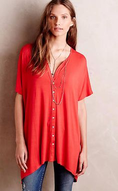 Button-Front Tee #anthrofave