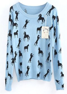 Blue Long Sleeve Horse Print Slim Jumper - Sheinside.com