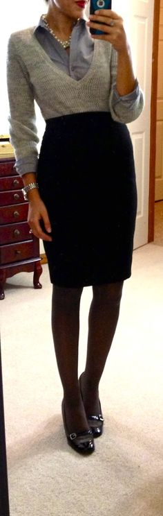 gray sweater, blue button-down, pearls, black pencil skirt