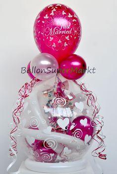 Geschenkballon Hochzeit - Just Married - Luftballon Bordeaux
