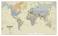 Hemispheres Boardroom Series World Wall Map, Educational Poster Posters at AllPosters.com 61 x 38 in