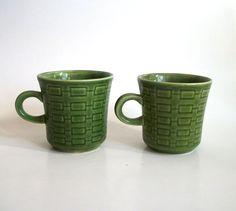 Vintage Mid Century Verde Green Coffee Mugs/ by VintageHomeShop, $11.00