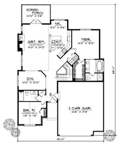 First Floor Plan of Bungalow   House Plan 93127