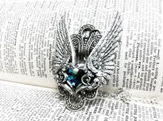 Valkyrie Aged silver plated brass filigree pendant Fantasy mythology inspired jewelry Vintage victorian steampunk gothic style. $89.00, via Etsy.
