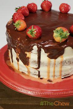 A decadent Neapolitan birthday cake for Michael Symon and Mario Batali!