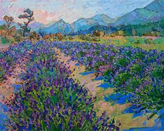 Lavender Fields - Erin Hanson Prints - Buy Contemporary Impressionism Fine Art Prints Artist Direct from The Erin Hanson Gallery Simple Oil Painting, Oil Painting For Sale, Large Painting, Painting Art, Erin Hanson, American Impressionism, Impressionism Art, Modern Art Paintings, Oil Paintings