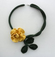Floral crocheted choker necklace statement necklace