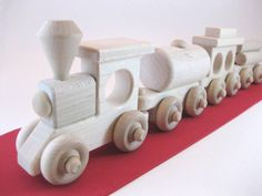 Wooden Toy Train Set 3 Cars Of Your Choice Natural Maple