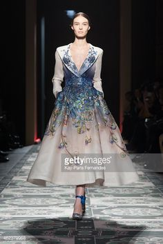 A model walks the runway during the Laurence Xu show as part of Paris Fashion Week Haute Couture Spring/Summer 2015 on January 27, 2015 in Paris, France.