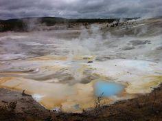 Porcelain basin. Norris geyser area. Yellowstone park.aug 2014