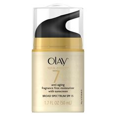 Olay Total Effects is Olay's Preventative Anti-Aging Skin Care Collection. Total Effects Fragrance Free Anti-Aging SPF15 Broad Spectrum Moisturizer with VitaNiacin Complex II fights the 7 signs of aging. This creamy fragrance-free, vitamin-rich moisturizer deeply hydrates to nourish, replenishing skin's moisture barrier. This fragrance-free facial moisturizer helps protect from the #1 cause of visible skin aging, the sun, with an all in one, lightweight SPF moisturizer.