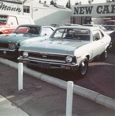 Chevy dealer - Looks to be early in the 1970 model year based on 1969 Camaro (held over until the 70 and a half model release), 1970 Nova, and Blazer in the background. Chevy Nova, Nova Car, Classic Chevrolet, Chevrolet Malibu, Chevy Dealerships, Used Car Lots, Street Outlaws, Trucks And Girls, Car Photos