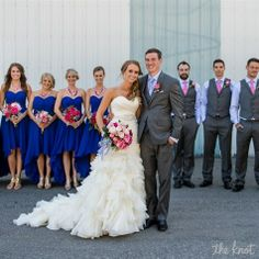 Pink and Blue Wedding Party... Gray suits?