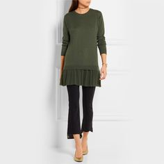 REDVALENTINO Cashmere and Point D'esprit Mini Sweater Dress