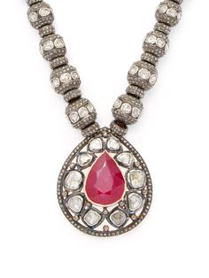 Arthur Marder Fine Jewelry 28.00 Total Ct. Ruby & 37.00 Total Ct. Diamond Rondelle Necklace