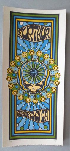 Original silkscreen concert poster for Furthur at in Berkeley, CA in 2013. It is printed on Watercolor Paper with acrylic inks and measures around 10 x 22 inches.  Print is signed and numbered out of only 80 by the artist Tripp.