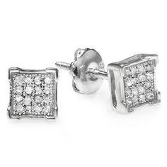 0.15 Ct Round Cut Black Natural Diamond V Prong Stud Earrings .925 Sterling Silver Black Rhodium