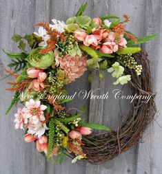 Spring Wreath, Easter Wreath, Garden Floral Décor, Designer, Woodland, Elegant Spring Wreath Woodland Spring Garden Wreath. Lovely in simplicity, soft meadow grass and lush greenery grace the edge of a rustic grapevine frame. A gorgeous gathering of lush Hydrangeas, Peonies,