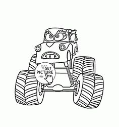 mater monster truck cars coloring page for kids transportation coloring pages printables free wuppsy - Monster Truck Mater Coloring Page