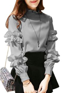 Buy Women's T Shirt Ruffle Solid Breathable Comfy Stylish Fashion Top & T-shirts - at Jolly Chic Kurti Sleeves Design, Sleeves Designs For Dresses, Dresses With Sleeves, Denim Dresses, Sleeve Designs, Hijab Fashion, Korean Fashion, Fashion Dresses, Fashion Top