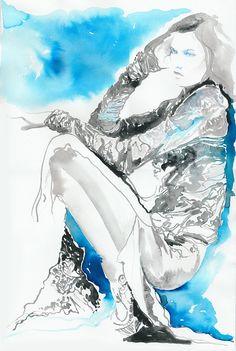 Watercolour Fashion watercolour painting by silverridgestudio, $360.00