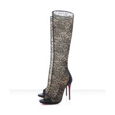 Christian Louboutin Alta Dentelle 120mm Dentelle Boots Black Red Sole... ($215) ❤ liked on Polyvore