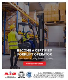 Enroll now to become a certified forklift operator. Institute of Heavy Equipments & Driving School 9605885591 Training School, Heavy Equipment, How To Become