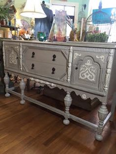 Vintage Painted Jacobean 1930's Depression Era Buffet Sideboard/Media Console by TessHome on Etsy