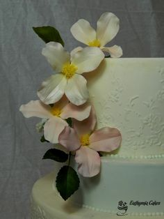 Sugar Gum paste Clematis Montana in white/blush wedding cake flower topper