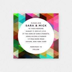 modern rainbow facet invitation
