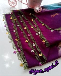 Ad # iğneoya the # needle # tigoya the # Sift # göznur the # point # groom # Dukes # dowry Embroidery Suits Design, Embroidery Works, Beaded Embroidery, Embroidery Stitches, Saree Tassels Designs, Knitting Patterns, Crochet Patterns, Palestinian Embroidery, Dress Neck Designs