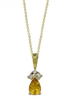 14K Yellow Gold Citrine & Diamond Pendant, .71 TCW