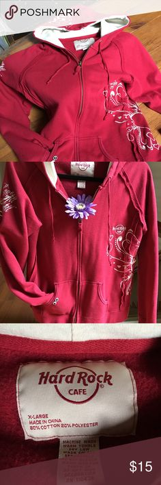 Hard Rock Cafe Zip Hoodie Used in good condition zip hoodie.  Size xl fits like a large.  Red with embroidered sleeve also wrap front to back and on hood.  Read the inspirational message in sleeve.  Smoke free environment. Hard Rock Cafe Other