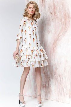Šifonovoe plаtьe s volаnаmi ot Prestige 3077 Dress with ice-cream Lovely Dresses, Simple Dresses, Casual Dresses, Short Dresses, Fashion Dresses, Summer Dresses, Cute Fashion, Girl Fashion, Fashion Looks