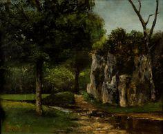 """Lot : GUSTAVE COURBET(FRENCH,1819 - 1877),Oil on canvas,50 x 62 cm,""""The Rock""""1878.  - on[...]   Dans la vente Art Russe, Européen, Arménien, et Antiquités d'Asie à Arman Antiques & Co"""