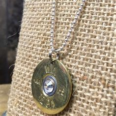"12 Gauge Gold Shotgun Shell with Clear Crystal necklace on 16"" Sterling Silver Mini Ball Chain made by Spent Rounds Designs! Love this ammo jewelry! Shotgun Shell Jewelry 