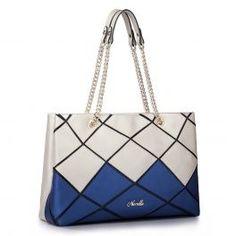 Blue leather contrast color shoulder bag